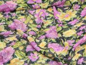Floral Print Semi Sheer Polyester Dress Fabric  Purple