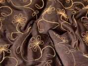 Embroidered Stretch Needlecord Dress Fabric  Brown & Mustard