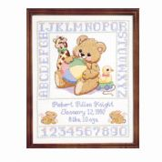 Janlynn Stamped Cross Stitch Kit Bear Birth Sampler Stamped Kit