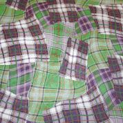 Random Check Print Georgette Dress Fabric  Green & Purple