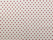 Rico Woven Cotton Fabric  Red on White