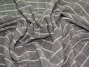 Check Crinkle Polyester Dress Fabric  Wine & Ivory