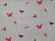 Rico Woven Cotton Fabric  Pink & Grey