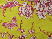 Rico Coated Cotton Fabric  Pink & Yellow