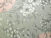 Rico Coated Cotton Fabric  Pink & Grey