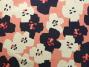 Rico Coated Cotton Fabric  Pink & Navy