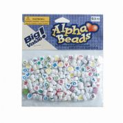 Darice Heart Plastic Alphabet Letter Craft Beads  White & Multi
