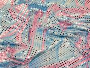 Sequinned Stretch Jersey Dress Fabric  Blue & Pink
