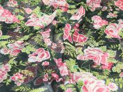 Floral Print Semi Sheer Polyester Dress Fabric  Black, Green & Pink