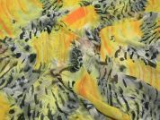 Semi Sheer Polyester Dress Fabric  Yellow & Grey