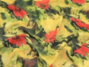 Floral Print Semi Sheer Polyester Dress Fabric  Black, Green & Red