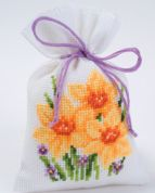Vervaco Counted Cross Stitch Kit Pot Pourri Bag Daffodil