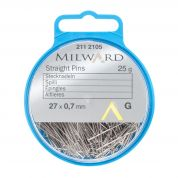 Milward Straight Dressmaking Pins  Silver
