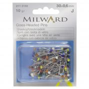 Milward Glass Headed Dressmaking Pins  Assorted Colours