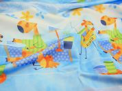 Childrens Print Polyester Fabric  Blue