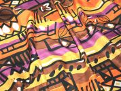 Stripe Cotton Dress Fabric  Orange, Purple & Brown