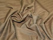 Pinstripe Stretch Suiting Dress Fabric  Brown