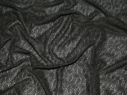 Poly Nylon Patterned Lace Dress Fabric  Black