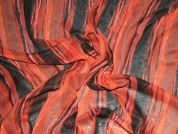 Autumnal Stripe Chiffon Print Dress Fabric  Brown & Burnt Orange