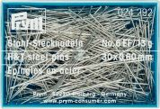 Prym 0.60 x 30mm Hardened & Tempered Steel Straight Pins 30mm  Silver