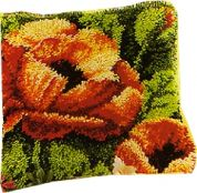 Vervaco Latch Hook Cushion Kit Poppies