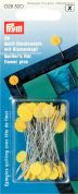 Prym 0.60 x 50mm Quilters Flat Flower Pins 50mm  Yellow