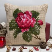 Twilleys of Stamford Antique Rose Large Count Cushion Cross Stitch Kit