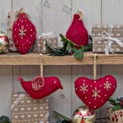 Twilleys of Stamford Red Christmas Decorations Knitting Kit