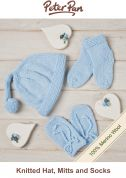 Peter Pan Knitting Kit Blue Baby Hat, Mittens & Socks