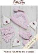 Peter Pan Knitting Kit Pink Baby Hat, Mittens & Socks