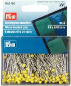 Prym 0.60 x 43mm Glass Headed Pins 43mm  Yellow