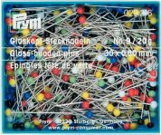 Prym 0.60 x 30mm Glass Headed Pins 30mm  Assorted Colours