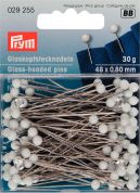 Prym 0.80 x 48mm Glass Headed Pins 48mm  White