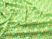 Patch Print Stretch Jersey Dress Fabric  Green