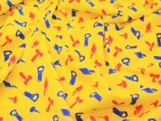 Yellow Tools Print Stretch Jersey Dress Fabric  Yellow