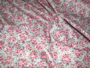 Pretty Floral Print Lightweight Cotton Dress Fabric  Pink
