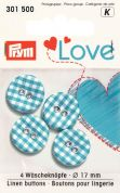 Prym Love Fabric Covered Round 2 Hole Buttons  Blue