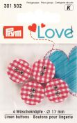 Prym Love Fabric Covered Round 2 Hole Buttons  Red
