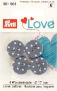 Prym Love Fabric Covered Round 2 Hole Buttons  Grey
