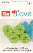 Prym Love Fabric Covered Round 2 Hole Buttons  Green