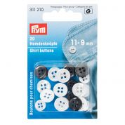 Prym Imitation Mother of Pearl Plastic 4 Hole Shirt Buttons  Ivory & Dark Grey