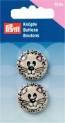 Prym Cat Face 2 Hole Round Buttons  Grey
