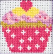 Anchor 1st Cross Stitch Kit For Children & Beginners Cupcake