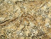 Decorative Animal Print Faux Suede Dress Fabric  Brown & Gold
