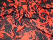 Large Floral Print Polyester Chiffon Dress Fabric  Black & Dark Orange
