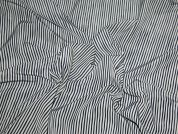 Wavy Stripe Print Polyester Dress Fabric  Navy & Beige