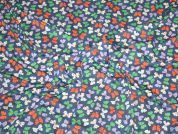 Blue, Green & Orange Bow Print Cotton Stretch Jersey Dress Fabric  Blue, Green & Orange