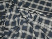 Cotton & Viscose Blend Check Dress Fabric  Navy Blue