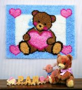 Caron WonderArt Latch Hook Rug Kit Teddy with Heart