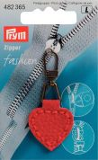 Prym Replacement Imitation Leather Zip Fastener Puller Heart  Red